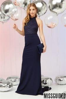 Missguided Bridesmaid Lace Fishtail Maxi Dress