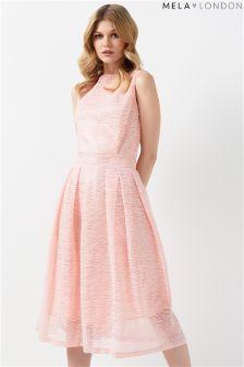Mela London Textured Stripe Prom Dress