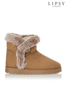 Lipsy Button Detail Faux Fur Boot