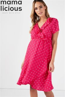 Mamalicious Maternity Polka Dot Wrap Frill Dress