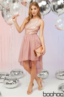Boohoo Sequin Top Midi Dress