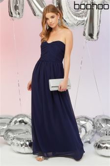 Boohoo Bridesmaid Maya Pleated Chiffon Top Bandeau Maxi Dress