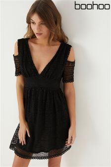 Boohoo Cold Shoulder Lace Skater Dress