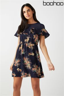 Boohoo Mesh Panel Floral Skater Dress