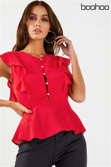 Boohoo Button Back Ruffle Shoulder Blouse
