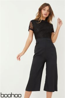 Boohoo High Neck Lace Cullotte Jumpsuit
