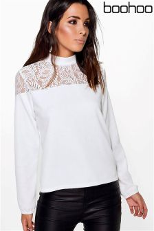 Boohoo Stella Lace Insert Long Sleeve Top