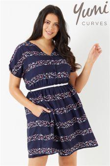 Yumi Curve Stripe Cold Shoulder Dress