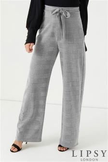 Lipsy Check Wide Leg Trouser