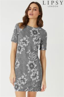 Lipsy Check Floral Shift Dress