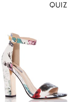 Quiz Flower PU Block Heeled Sandal