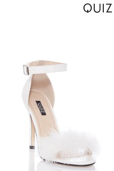 Quiz Feather Strap Stiletto Heeled Sandal