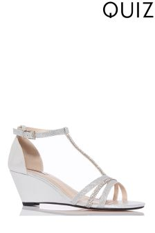 Quiz Metallic Diamanté Strap Low Heeled Wedge