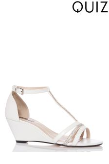 Quiz Diamanté Strap Low Heeled Wedges