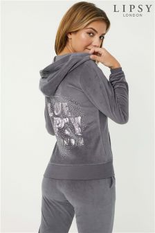 Lipsy Velour Love Crown Logo Hoodie