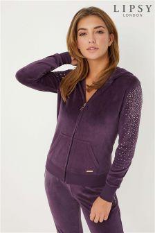 Lipsy Velour Diamanté Sleeve hoodie