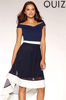 Quiz Bardot Contrast Dip Hem Dress