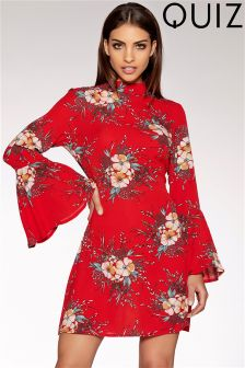 Quiz Floral Print Crepe Frill Sleeve Dress