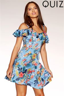 Quiz Satin Floral Print Frill Bardot Dress