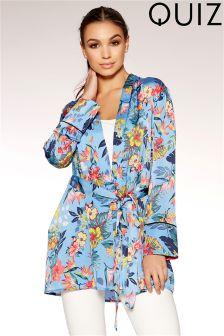 Quiz Satin Floral Print Tie Waist Kimono Jacket