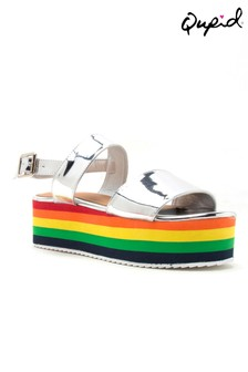 Qupid Two Band Wedge Sandals