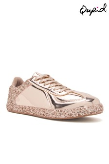 Qupid Lace Up Glitter Trainers