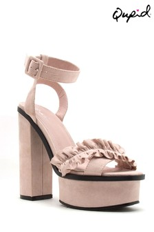 Qupid Ruffle Cross Band Sandals