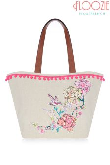 Floozie Embroidered Straw Bag