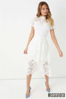 Missguided Short Sleeve Lace Midi Skater Dress