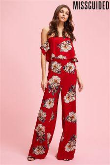 Missguided Floral Crepe Bardot Jumpsuit