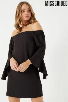 Missguided Bardot Flared Sleeve Shift Dress