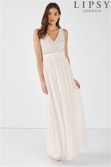 Lipsy Savannah V neck Sequin Top Maxi Dresss
