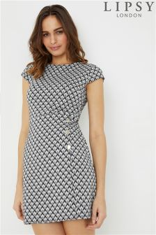 Lipsy Jaquard Button Side Bodycon Dress