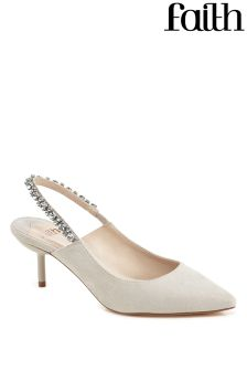 Faith Diamanté Slingback Court Heels