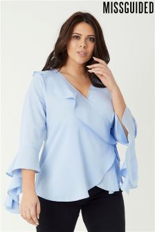 Missguided Plus Wrap Over Frill Detail Top