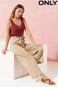Only Cropped Linen Mix Trouser With Tie Belt