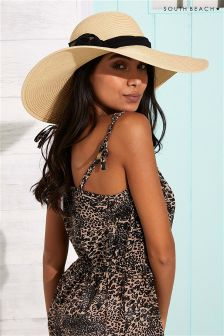 South Beach Brim Paper Large Bow Sun Hat