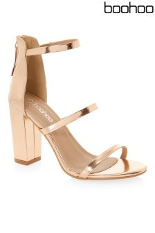 Boohoo Three Part Block Heel Sandals