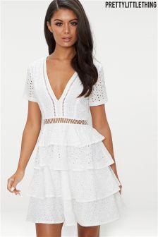 PrettyLittleThing Broderie Tiered Dress