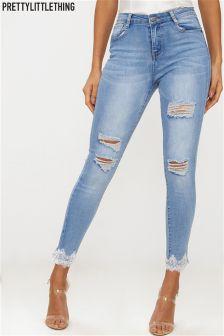 PrettyLittleThing Skinny Jeans Crochet Hem