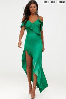 שמלת מקסי עם שוליים אסימטריים של PrettyLittleThing