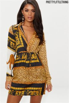 PrettyLittleThing Scarf Printed Shirt Dress