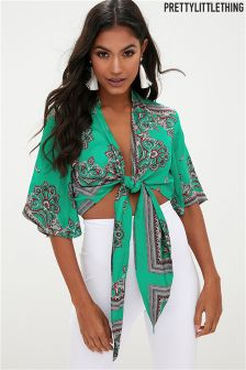 PrettyLittleThing Scarf Print Tie Front Blouse