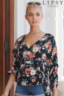 Lipsy Floral Tuck Sleeve Wrap Blouse