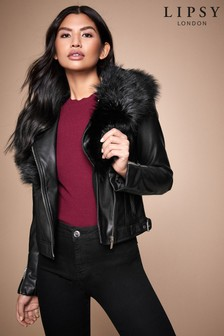 Lipsy Faux Fur Collar Biker Jacket