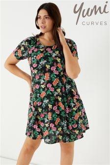 Yumi Curve Floral Print Skater Dress