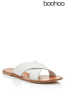 Boohoo Amber Cross Strap Leather Slider