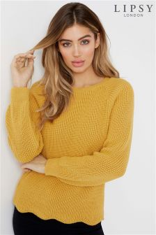 Lipsy Zip Detail Scallop Jumper