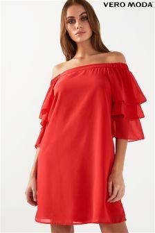 Vero Moda Petite Bardot Ruffle Dress
