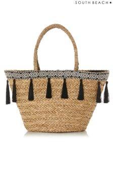 South Beach Straw Tassel Basket Beach Bag